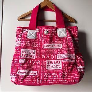 lululemon Pink White Manifesto Tote Bag